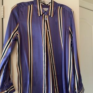 Equipment Purple Striped Silk Blouse